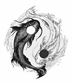 Yin Yang Koi Fish Tattoo Design by AenTheArtist Pez Koi Tattoo, Coy Fish Tattoos, Body Art Tattoos, Kio Fish Tattoo, Sleeve Tattoos, Yin Yang Fish, Ying Y Yang, Koala Tattoo, Art Koi