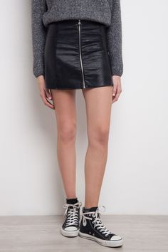 Zip Faux Leather A-line Skirt