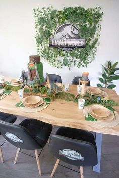 Check out this cool Jurassic Park dinosaur birthday party! The table settings are so much fun! See more party ideas and share yours at CatchMyParty.com Dinosaur Cake, Dinosaur Birthday Party, Boy Birthday, Place Settings, Table Settings, Centerpieces, Table Decorations, For Your Party, Table Linens