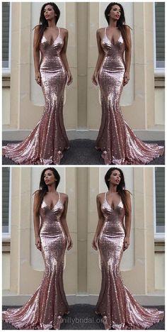 Long Prom Dresses, 2018 Prom Dresses, Mermaid Prom Dresses V-neck, Sequined Prom Dresses Ruffles, Modest Prom Dresses Backless