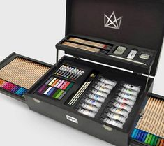 KINGART inspires the artist in everyone by providing high quality, professional art supplies designed for every level of expertise, even for kids! Art Supplies Storage, Art Storage, Professional Art Supplies, Cool School Supplies, Art And Craft Materials, Makeup Train Case, Glitter Crafts, Acrylic Paint Set, My Art Studio