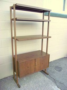 Mid Century Freestanding Bookshelf Stereo Hutch by OldMillVintage