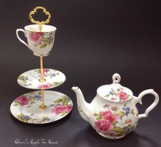 3 Tier Stand Flower Garden Tier for by HelensRoyalTeaHouse on Etsy