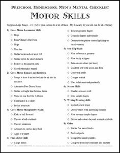 Teaching Little Ones At Home: Printable | Preschool Homeschool | Motor Skills Checklist