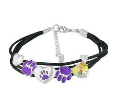 Animal Rescue - Pet Shop - Purple Paws & Hearts Charm Bracelet