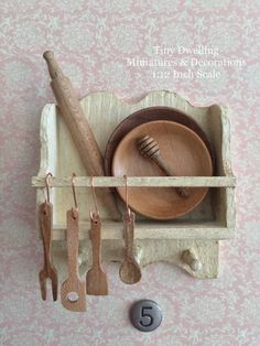 Miniature Kitchen Tools, Dollhouse Wooden Utensils, Miniature Cooking, Dollhouse Kitchen - Obsessed with Lately - Mini Kitchen, Miniature Kitchen, Wooden Kitchen, Cheap Furniture, Pallet Furniture, Kitchen Furniture, Furniture Dolly, Furniture Online, House Furniture