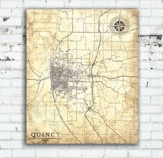 QUINCY Canvas Print IL Illinois Quincy City Vintage map Vintage Map Wall Art poster Vintage retro old antique Illinois Quincy United States