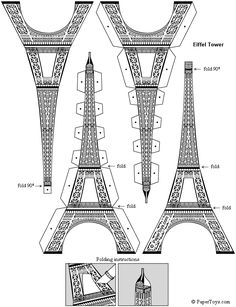 Craft your own paper Eiffel Tower - Paris Themed Party Decor Tour Effel, 3d Templates, Kirigami Templates, Paris Birthday, Diy Birthday, Paris Party, Paris Theme Parties, Thinking Day, 3d Origami