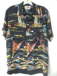 1950's Kahanamoku Hawaiian Shirt Med Swordfish Flamingos Black Background   eBay