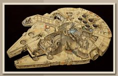 Check out this incredible Millennium Falcon cut-away art that's been officially released by its artist, Brian Sauriol.