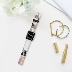 Modern Elegant Floral Faux Rose Gold and Silver and Black and White Marble Geometric Triangles- Transparent - Saffiano Leather Watch Band