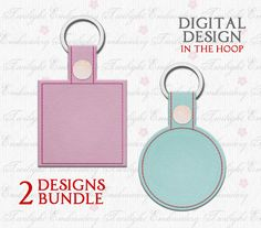 You will receive TWO separate designs. - Blank Circle Key Fob Snap Tab Design - Blank Square Key Fob Snap Tab Design.    These are In The Hoop designs. A PDF with instructions is included in the download. To make these key fobs you will need an embroidery machine, vinyl (marine vinyl is recommended), felt (or any fabric you want to use to cover the stitching on the back of the key fob), snaps, a tool to attach the snaps, and a key ring.