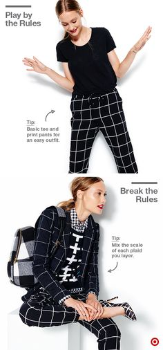 Play by the rules or break the rules: For laid back and everyday-wear, throw on a basic top and easy print bottom (these plaid joggers will be your new go-to). For real style points, it's all about layering the toppers. Here the gingham button-down acts as a neutral base, while the sweater, blazer and bag dress up the look for a street-to-chic vibe. It looks complex, but it's actually easy to pull off because the color family is the same. Styled by Zanna Roberts Rassi.