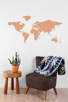 A cork board of the world so you can pin where you have been.