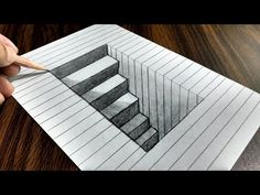 How to Draw a Step in Line Paper - Easy 3D Trick Art - YouTube