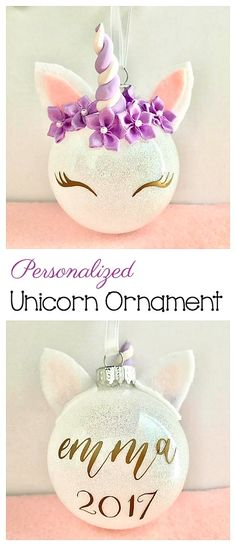 Personalized Unicorn Ornament for the Christmas Tree! Also a great way to decorate for a unicorn themed birthday! #unicorns #ornament #ad