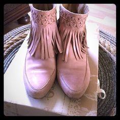 Latigo- cute booties Anthropologie fun & fringe! Pale pink, neutral tone, worn but lots of use left. Anthropologie Shoes Ankle Boots & Booties