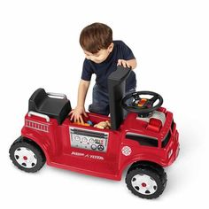 Radio Flyer Battery-Operated Fire Truck for 2 with Lights and Sounds