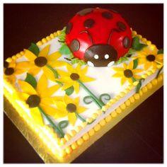 Ladybug with sunflowers sheet cake.