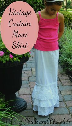 Days of Chalk and Chocolate: Vintage Curtain Maxi Skirt (Simple Sewing)