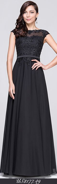 A-Line/Princess Scoop Neck Floor-Length Chiffon Evening Dress With Beading Appliques Lace Sequins. All Colors & Sizes, Customisable too! #jjshouse