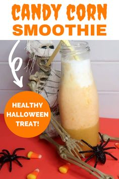 This candy corn smoothie will have you feeling festive for fall! You'll love this healthy smoothie recipe that features peaches, clementines, and bananas. It's a layered smoothie that's perfect for a healthy Halloween treat.