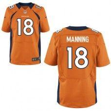 Nike Elite Men's  Denver Broncos #18 Peyton Manning Team Color Orange NFL Jersey