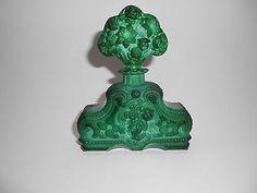 Art Deco Czech Bohemian MALACHITE GLASS Roses Design Perfume Bottle