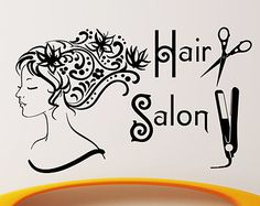Hair Salon Wall Decor vinyl decal beauty hair salon fashion woman hairdresser barbershop
