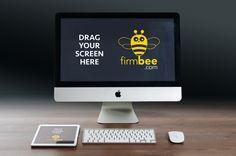Free Apple devices mockup PSD. #free #psd #apple #ipad #iMac #office