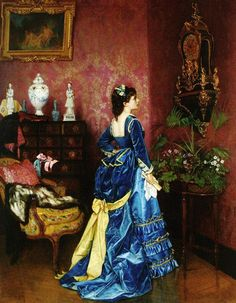 Portrait of a lady in a blue dress by the French artist Auguste Toulmouche (1829-1890) - Style:Romanticism 1870