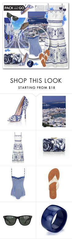 """Greece in Blue & white"" by feelgood35 ❤ liked on Polyvore featuring Paper Dolls, Monsoon, Talbots, Dolce&Gabbana, Charles Albert and Ray-Ban"