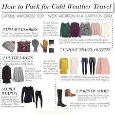 This is a travel packing list for a cold weather vacation using a carry-on only. Pack light with travel tips from http://travelfashiongirl.com/ This is Part 3 of a three-part packing series! Never check a bag again!
