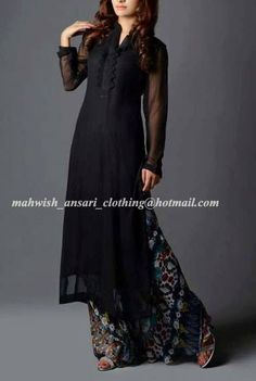 black chiffon shirt with printed palazzo.to order this dress email us at the given address on the image or join our facebook page