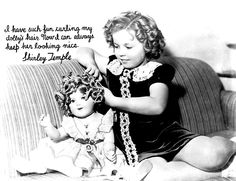 1936 Shirley Temple curling the hair of a Shirley Temple doll, the Vassar Wavers she's using came with some of the dolls.