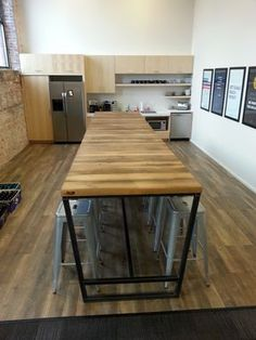 Reclaimed Wood And Steel Industrial High Top Conference Table By - Wood and metal conference table