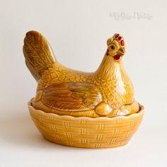 Vintage 1960/1970s Retro SADLER Ceramic Chicken Egg Storage Holder by UpStagedVintage on Etsy