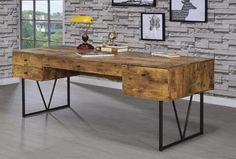 Nutmeg Writing Desk – Katy Furniture Industrial House, Rustic Industrial, Rustic Wood, Antique Writing Desk, Antique Desk, Coaster Fine Furniture, New Furniture, Open Shelving, Shelves