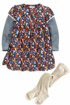 Navy Flower Dress And Tights Set (3mths-6yrs)