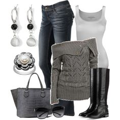 """Off the Shoulder Sweater"" by smores1165 on Polyvore"