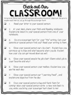 Open house scavenger hunt- Love this FREEBIE idea of the students showing their special person around the classroom. There's even a editable one so you can make it your own!