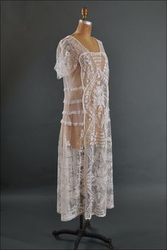 Sublime 1920's Tambour Needlerun Lace Dress * from mairemcleod on Ruby Lane