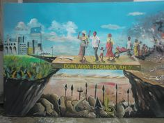 These billboards are of paintings by artists trained in a local studio by the Center for Research & Dialogue (www.crdsomalia.org/), the art is then put up overnight around Mogadishu to stimulate debate. Quraca Nabadda are a coalition of Somali led organisations working to build peace & reconciliation, nurture culture & arts, & promote positive Somali stories. #somalia#mogadishu #culture #art