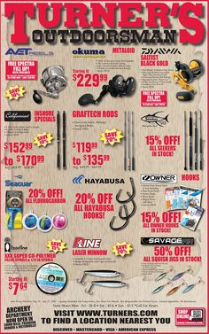 Turner's Outdoorsman Weekly Ad July 21 - 27, 2017 - http://www.olcatalog.com/turners/turners-weekly-ad.html