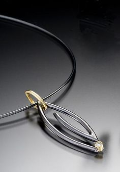 Midnight Marquise Spiral Necklace by Danielle Miller: Gold, Silver, & Stone Necklace available at www.artfulhome.com