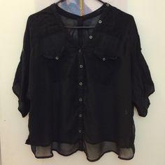 For Sale: Sheer Black Blouse for $13
