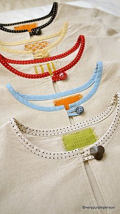Use bias tape at neckline and as loop for button.