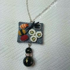 Polymer clay sushi pendant, nigiri and futomaki with soy sauce