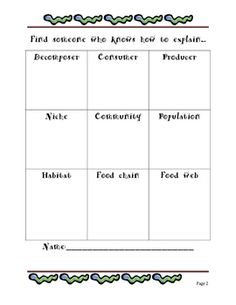 Vocabulary Activities for Ecosystems