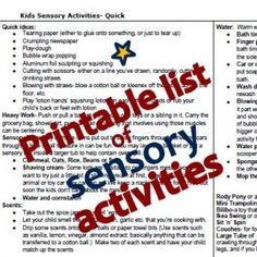 A handy list of Sensory Integration Activities for Preschoolers: printable for easy reference. by dawn